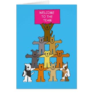犬、チームへの歓迎 グリーティングカード