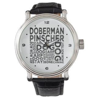 (犬)ドーベルマン・ピンシェルのタイポグラフィ 腕時計