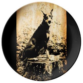 (犬)ドーベルマン・ピンシェルのヴィンテージの古い写真 磁器プレート