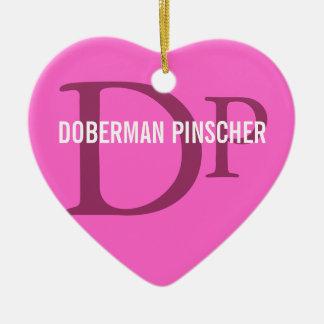 (犬)ドーベルマン・ピンシェルの品種モノグラムのデザイン セラミックオーナメント