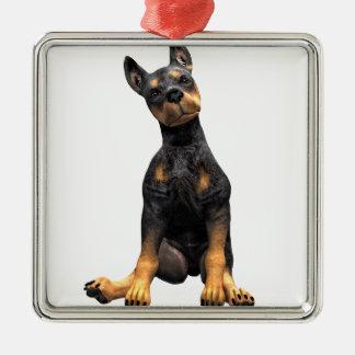 (犬)ドーベルマン・ピンシェルの子犬のモデル メタルオーナメント