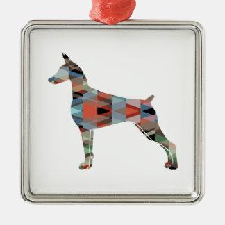 (犬)ドーベルマン・ピンシェルの幾何学的で黒いシルエット メタルオーナメント