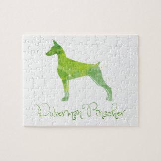 (犬)ドーベルマン・ピンシェルの水彩画のデザイン ジグソーパズル