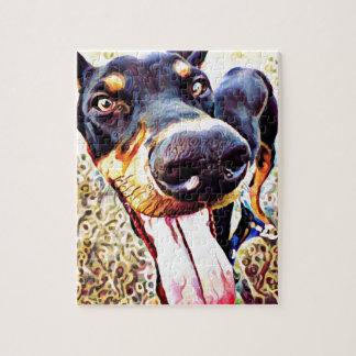 (犬)ドーベルマン・ピンシェルの渦巻のペンキ1 ジグソーパズル