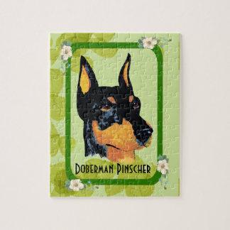 (犬)ドーベルマン・ピンシェルの~の緑の葉のデザイン ジグソーパズル