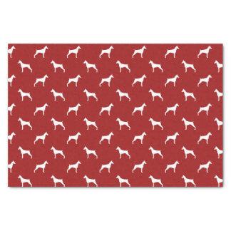 (犬)ドーベルマン・ピンシェルはパターン赤のシルエットを描きます 薄葉紙