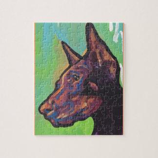 (犬)ドーベルマン・ピンシェル犬のポップアート ジグソーパズル