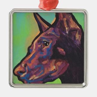 (犬)ドーベルマン・ピンシェル犬のポップアート メタルオーナメント