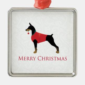 (犬)ドーベルマン・ピンシェル犬のメリークリスマスのデザイン メタルオーナメント