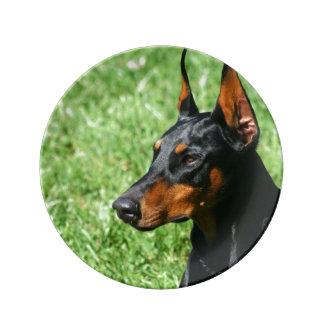 (犬)ドーベルマン・ピンシェル犬 磁器プレート