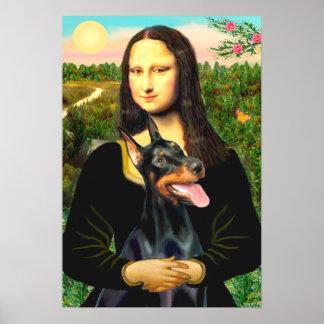 (犬)ドーベルマン・ピンシェル-モナ・リザ ポスター