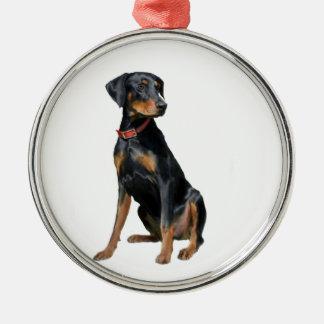 (犬)ドーベルマン・ピンシェル(自然な) メタルオーナメント