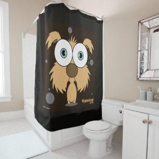 犬(ブラウン、黒いBg)のシャワー・カーテン シャワーカーテン