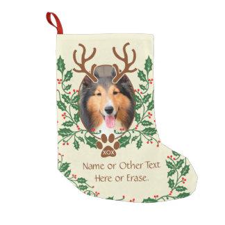 犬/猫のためのクリスマスの(雄ジカの)枝角は写真を個人化します スモールクリスマスストッキング