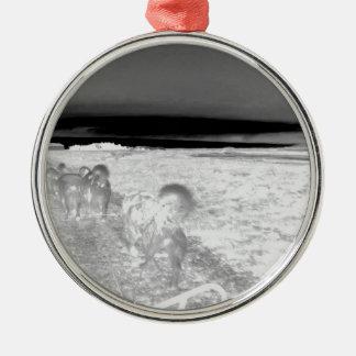犬Sledging シルバーカラー丸型オーナメント