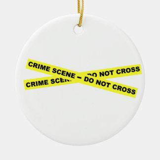 犯罪現場-交差させないで下さい セラミックオーナメント
