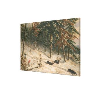 狩りのアメリカヘラジカ キャンバスプリント
