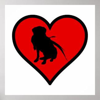 狩りのラブラドル・レトリーバー犬のハート愛犬 ポスター