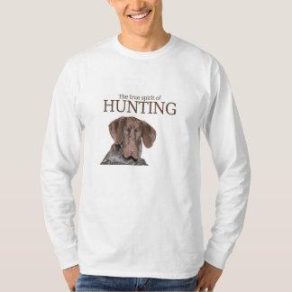 狩りの光沢のあるハイイログマの本当の精神 Tシャツ