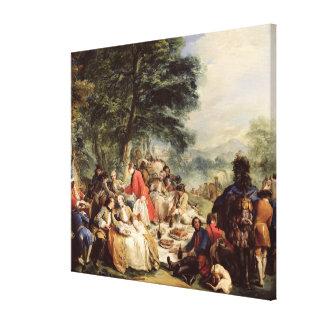 狩りの昼食1737年 キャンバスプリント