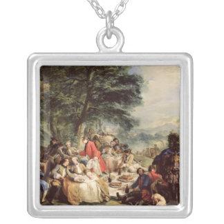 狩りの昼食1737年 シルバープレートネックレス