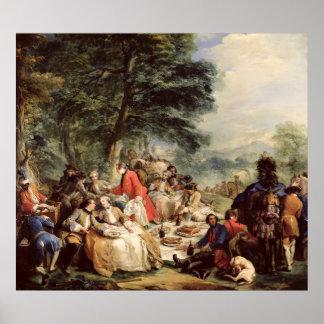 狩りの昼食1737年 ポスター