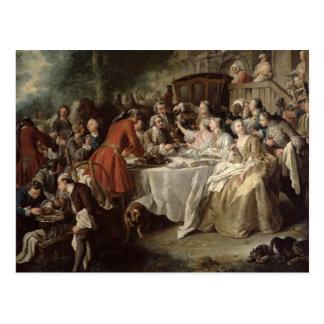 狩りの昼食、ダイナーの詳細、1737年 ポストカード