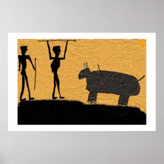 狩りの有史以前の洞窟のスケッチ ポスター
