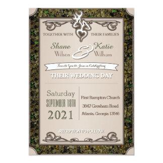 狩りの木びき台および雌ジカのカムフラージュの結婚式招待状 カード