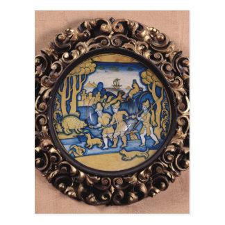 狩り場面と飾られるプレート ポストカード