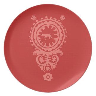 狩りWEIMARANERの赤い花のメラミンプレート プレート