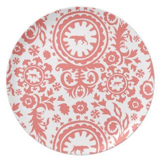 狩りWEIMARANER RED/WHITEの花のプレート プレート