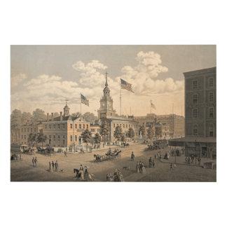 独立ホールフィラデルヒィア1876年 ウッドウォールアート