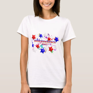 独立記念日および紙吹雪の女性のTシャツ Tシャツ