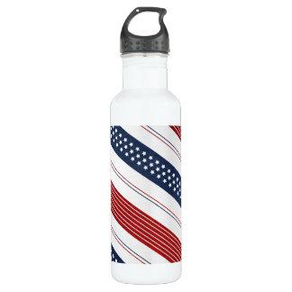 独立記念日の斜めの星条旗 ウォーターボトル