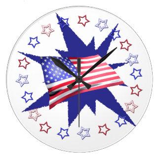 独立記念日の星の円のデザイン ラージ壁時計