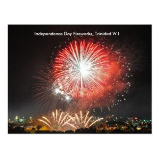 独立記念日の花火、トリニダード ポストカード