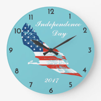 独立記念日-ワシの米国旗 ラージ壁時計