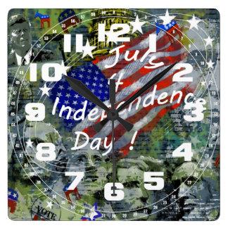 独立記念日、7月4日の柱時計 スクエア壁時計