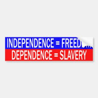 独立=自由対依存=隷属 バンパーステッカー