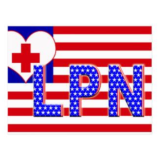 独立LPN LICENCESED実用的なナースの旗 ポストカード