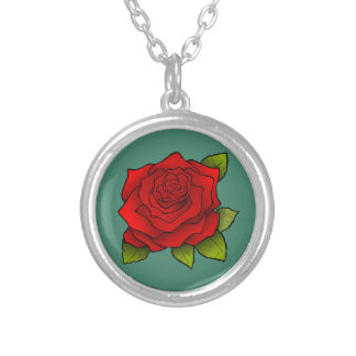 独身ので赤いバラ シルバープレートネックレス
