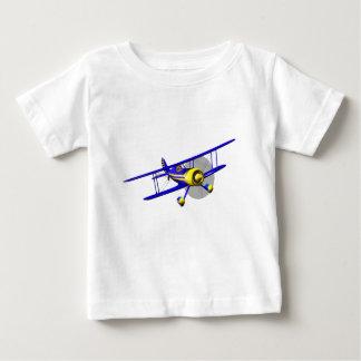 独身ので青い複葉機 ベビーTシャツ