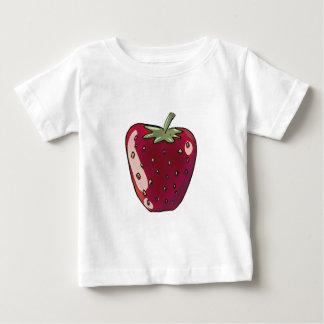 独身のないちごの漫画のスタイルのフルーツのイラストレーション ベビーTシャツ