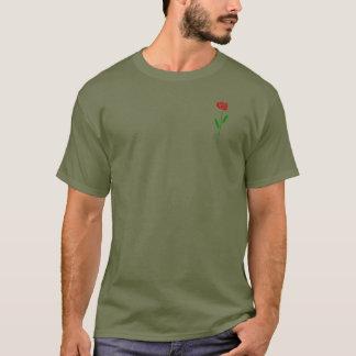 独身のなアールデコの赤いバラの緑の葉および茎 Tシャツ