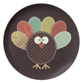 独身のなパッチワークの感謝祭トルコ プレート
