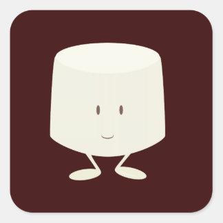 独身のなマシュマロのキャラクターの微笑 スクエアシール