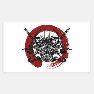 独身のな武士のEnsoの血の円 長方形シール