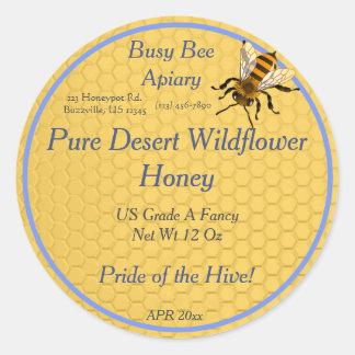 独身のな蜜蜂の蜂蜜のラベルと円形蜜蜂の巣 ラウンドシール