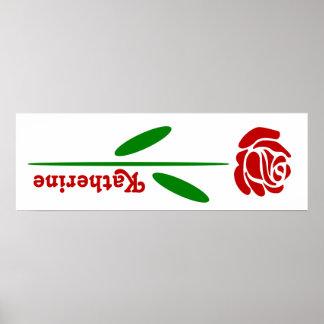 独身のな赤いバラの緑の茎の葉は名前をカスタマイズ ポスター